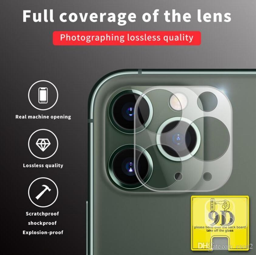 Camera Film vidro temperado para iPhone 11 Pro Max Camera Lens Protector completa cobertura transparente para iphone Pro com pacote de varejo Box