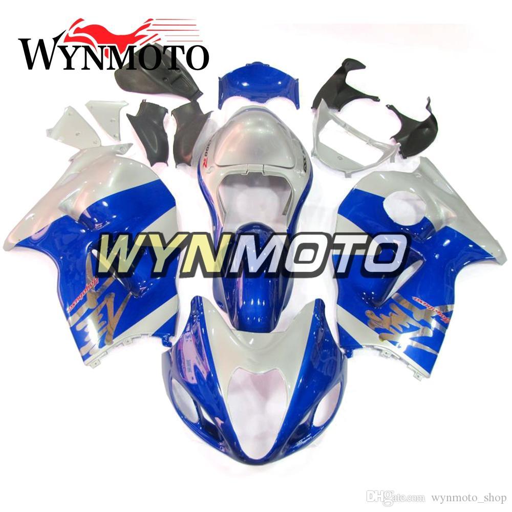 Suzuki GSXR1300 Hayabusa Için Mavi Beyaz Motosiklet Kaplama 1997 1998 1999 2000 2001 2002 2003 2004 2005 2006 2007 Hulls Cowlings Carenes