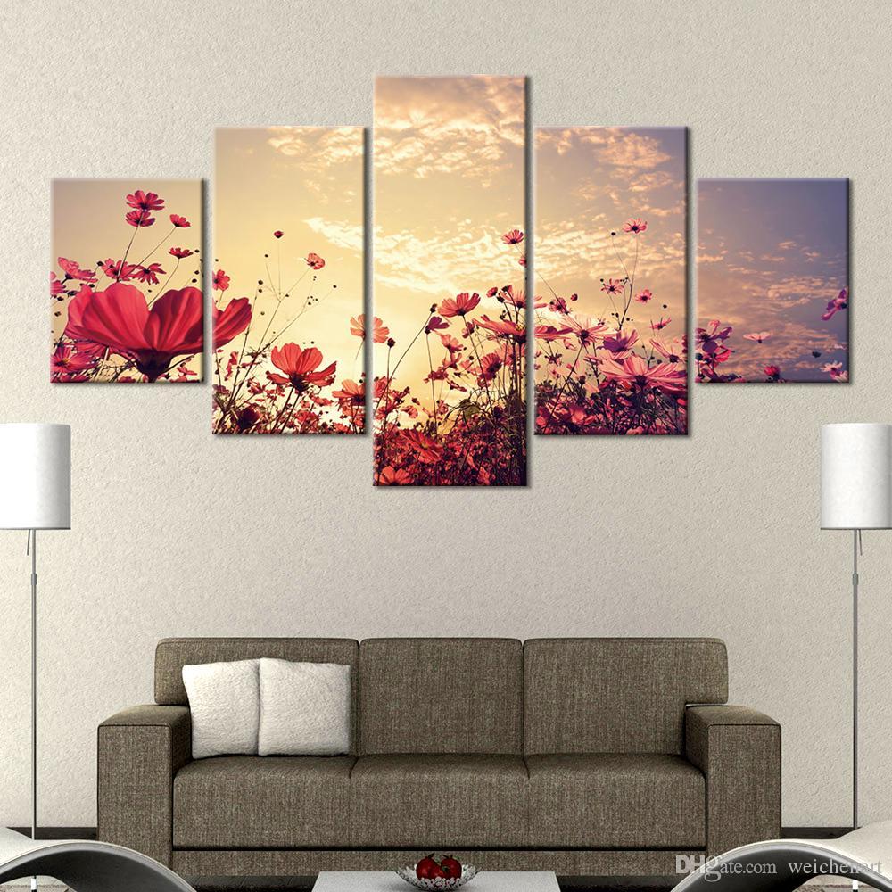 Dekoratif Sunset Çiçek Resim Modern Ev Dekorasyonu Boyama 5 Adet Posterler Ve Baskılar Wall Art Kanvas