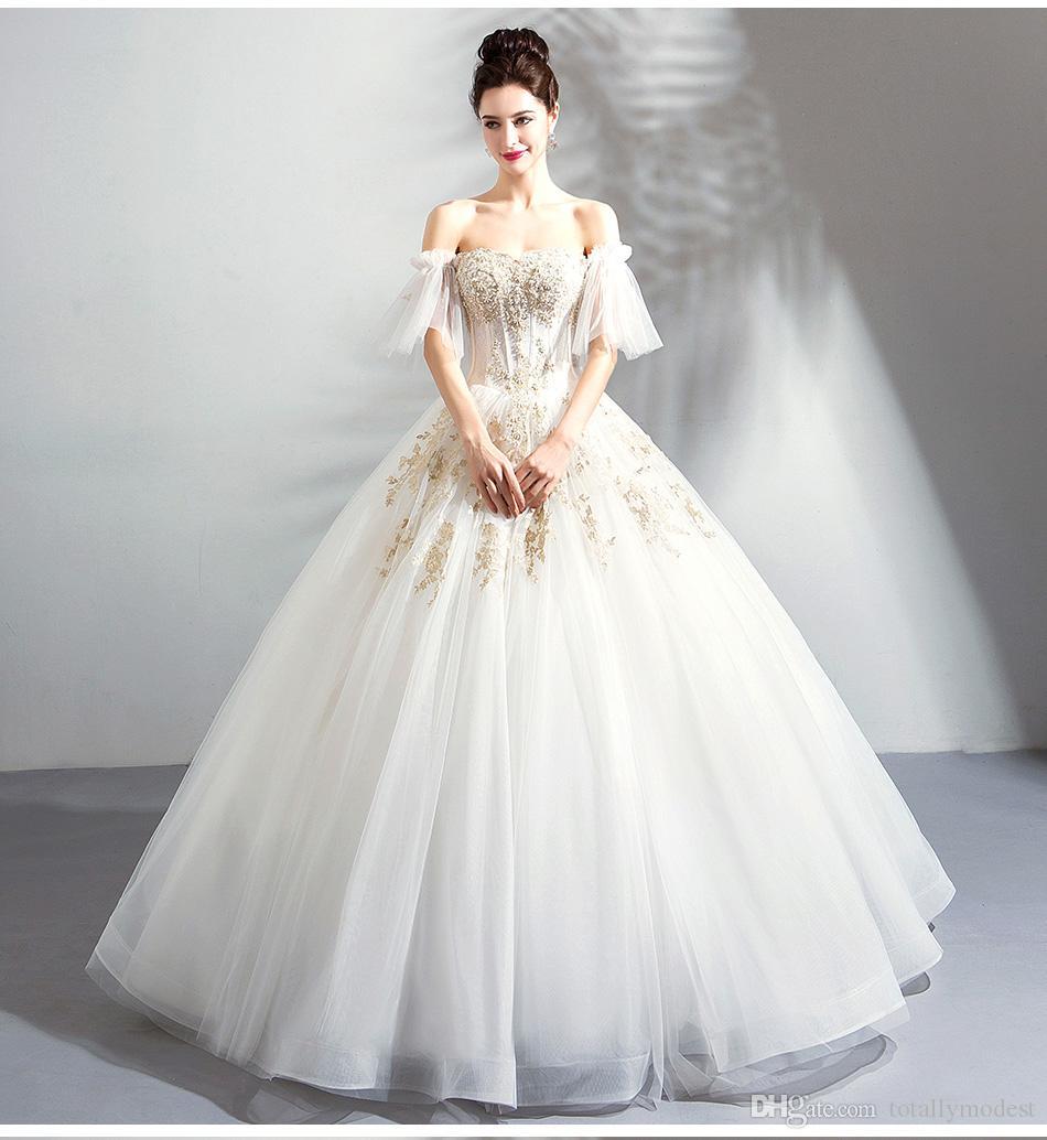 2019 Новое поступление Gold кружевное бальное платье арабское свадебное платье с плеча Дубай арабские женщины принцесса не белые свадебные платья