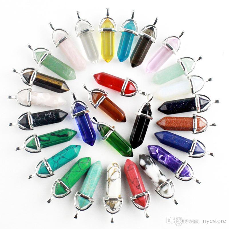 Barato Por Atacado Pedra Natural Pingente Drusy Bala Hexagonal prisma Encantos De Vidro De Cristal Jóias para Colar DIY Acessórios Keychain