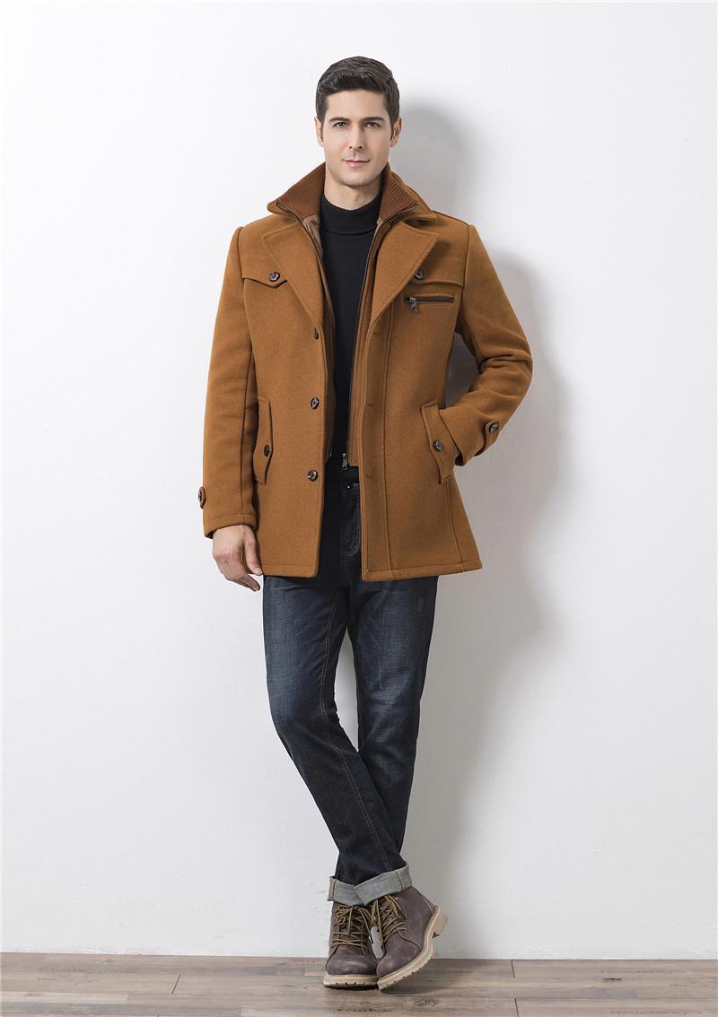 Mode solide avec double cou Hommes Slim Pardessus Designer Blends Woollen en laine épaisse d'hiver Homme Hauts