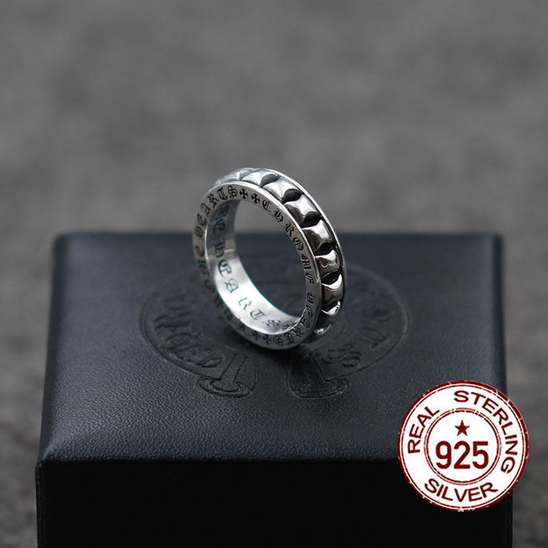 S925 anillo de plata esterlina nuevo estilo punk de la personalidad estilo retro simple y elegante modelado de moda joyería boutique enviar amante 2019 nuevo caliente