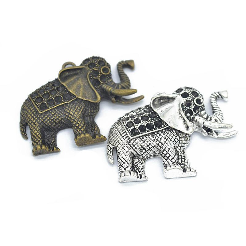2pcs Charms Elephant 49x35mm Antique Silver Bronze Jewelry Making Charm Fit Earring Necklace Bracelet Handcraft