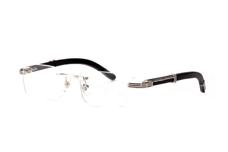 Gros-lunettes corne de buffle verre en plastique jambe de bois Lunettes de soleil Marque Designer or pur bois de qualité des lunettes de soleil de demi-cadre en bambou