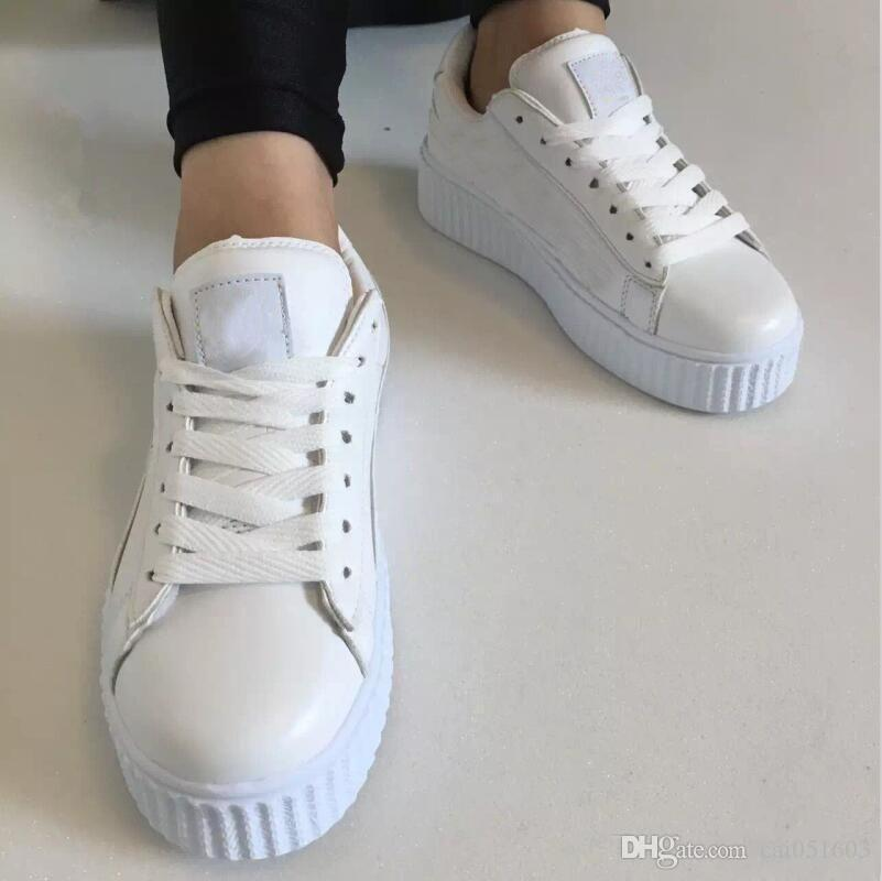 2020 hot Classic! Womens Rihanna Riri Fenty Creeper Velvet Pack Burgundy Black Grey Color Brand Ladies Classic Casual Shoes 36-39