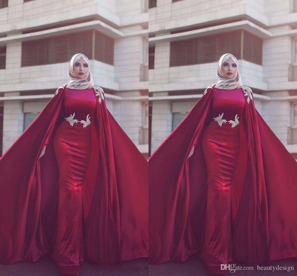 Koyu Kırmızı Dubai Arapça Müslüman Denizkızı Kadife Gelinlik Modelleri Capes Formal Elbise Abiye Giyim yousef aljasm ile 2020 Uzun Jewel Boyun