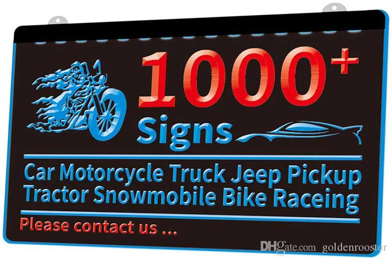 1000 Signs Car Truck Motorcycle Jeep Captura Tractor Snowmobile bicicleta Raceing Novo 3D LED Sinal múltipla Cor