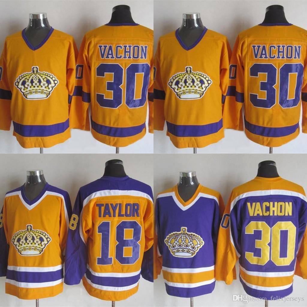 2017-2018 Temporada Los Angeles Kings Jersey 30 Vachow 18 Taylor Wayne Gretzky Vachow Alec Martinez Amarelo Branco Hóquei Jerseys