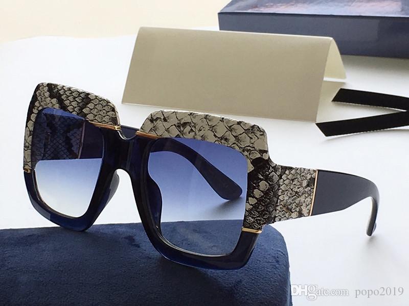 2020 النظارات الشمسية الشعبية فاخر مصمم النساء ساحة الصيف نمط 0484 ثعبان إطار الجلد أعلى جودة حماية الأشعة فوق البنفسجية اللون مختلط مع حالة