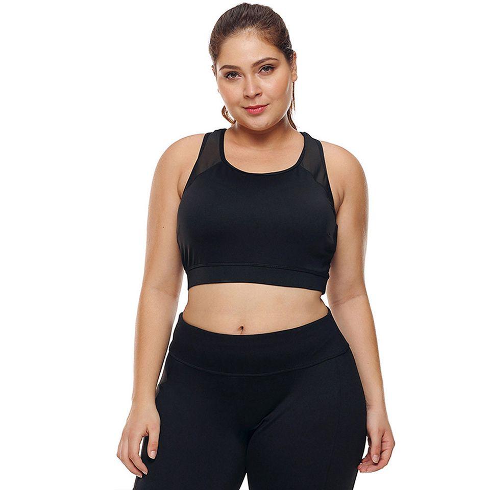 New Fashion Fitness Sports Vest U-neck Mesh Stitching Hollow Breathable Tight-fitting Large Size Yoga Bra jooyoo