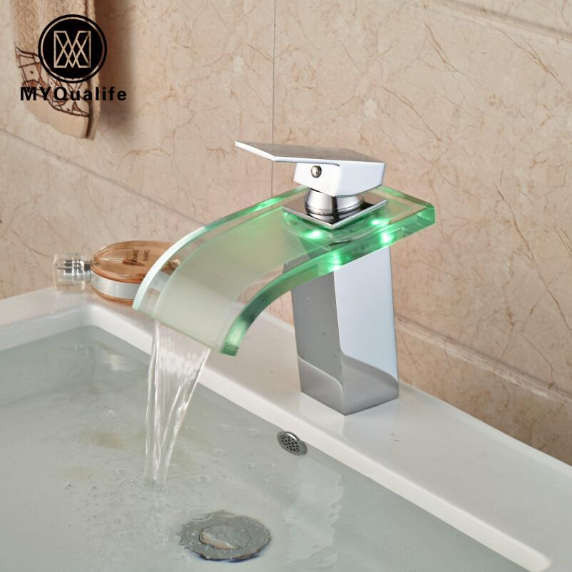 Bathroom 3 Color LED Widespread Glass Waterfall Mixer Faucet Chrome Tap 1 Handle