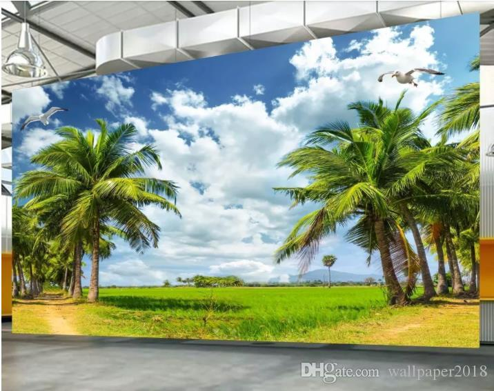 Custom Wallpaper Ultra Hd Hainan Coconut Tree Tv Background Wall Living Room Bedroom Children Room Background 3d Wallpaper Murals Wide Wallpaper For