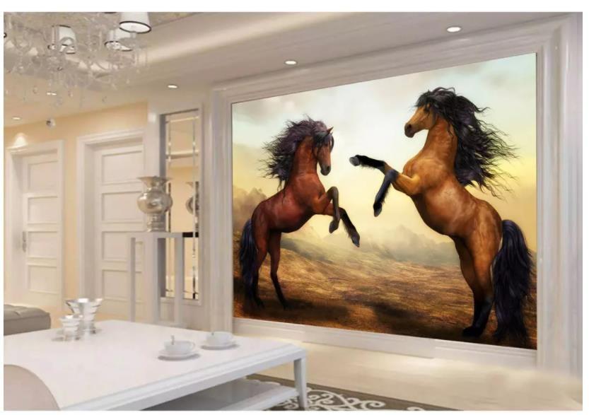 3d Horse Wallpaper Wallpapers For Living Room Golden Horse Golden