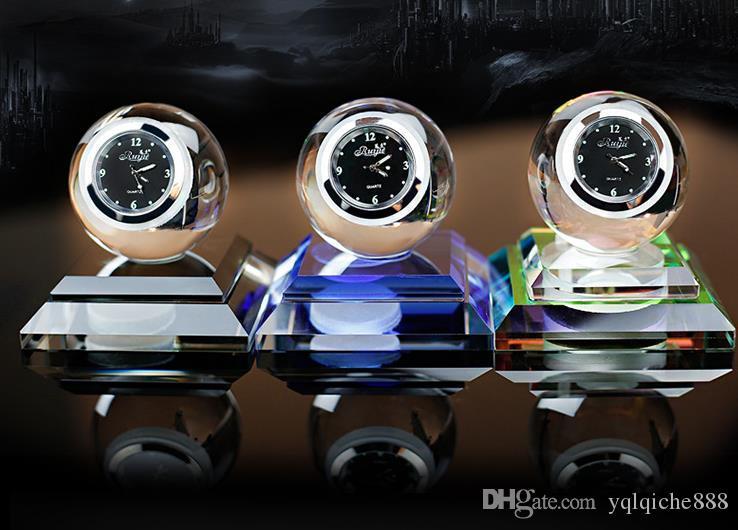 Car perfume seat, creative clock, crystal perfume decoration car decoration