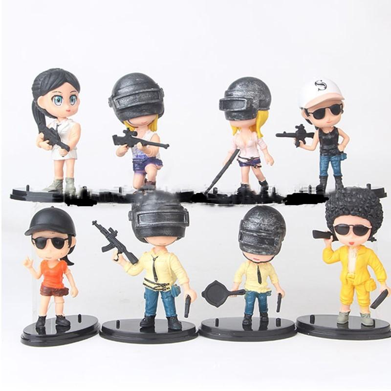 8Pcs/set PUBG Game Playerunknowns Battlegrounds Master 98K M416 PVC Action Figure Collectible Model Toys Y200421