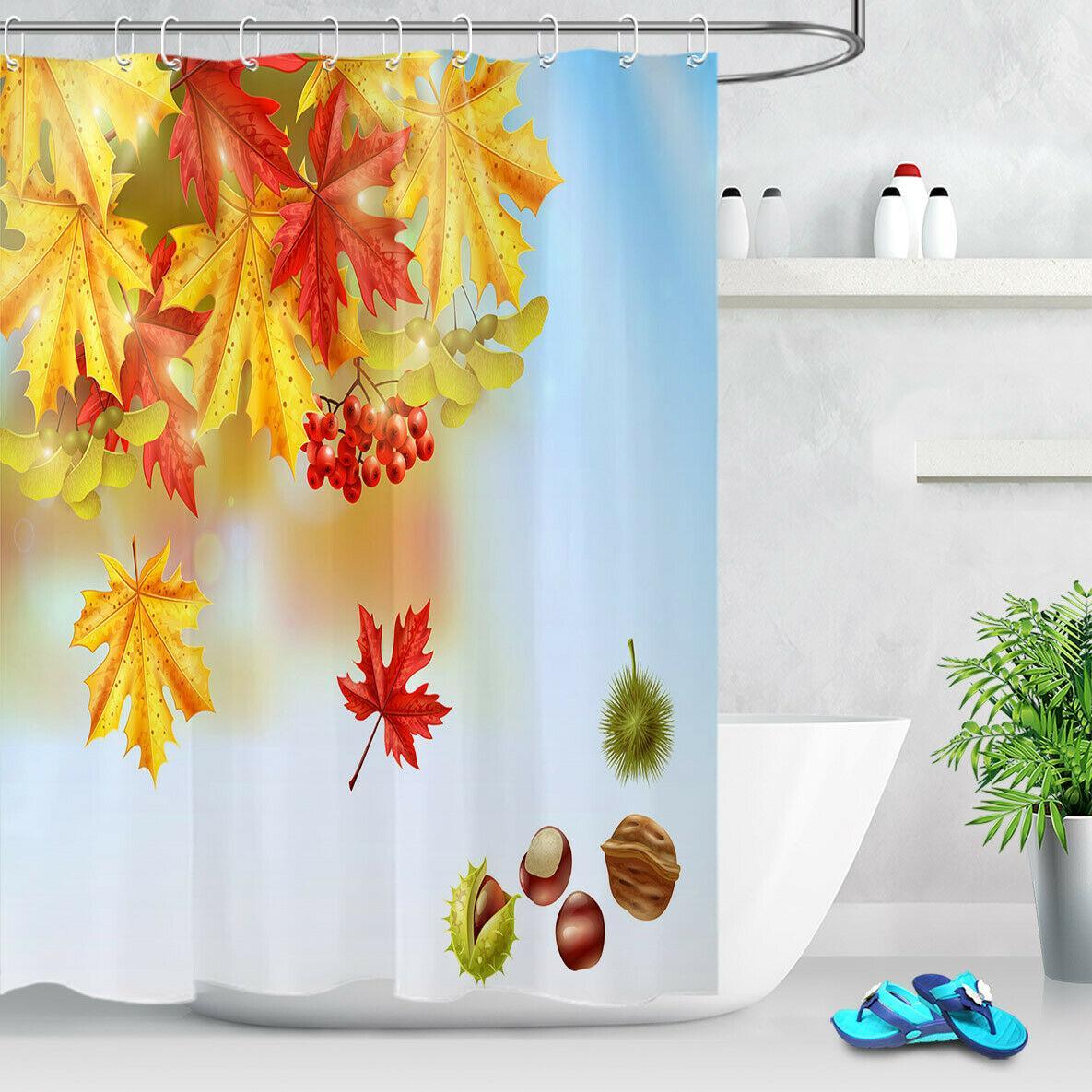 2019 Autumn Maple Leaf Nut Red Firethorndurable Fabric Mold Proof Bathroom Pendant Creative With 12 Hooks 180x180cm From Jackdaine 22 02