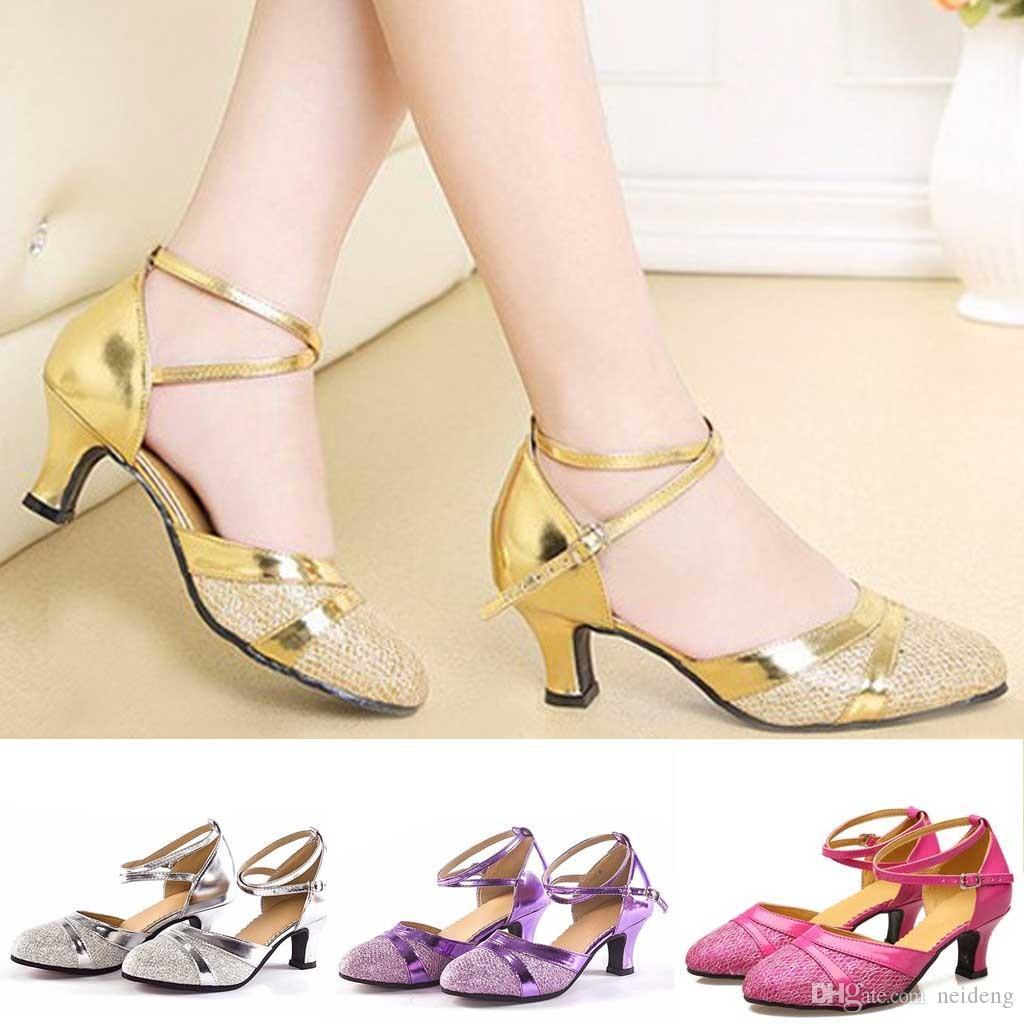 Venta-SOBRE zapatos cerrados interior de gamuza Suela Vals Tango baile de la salsa caliente Med talones