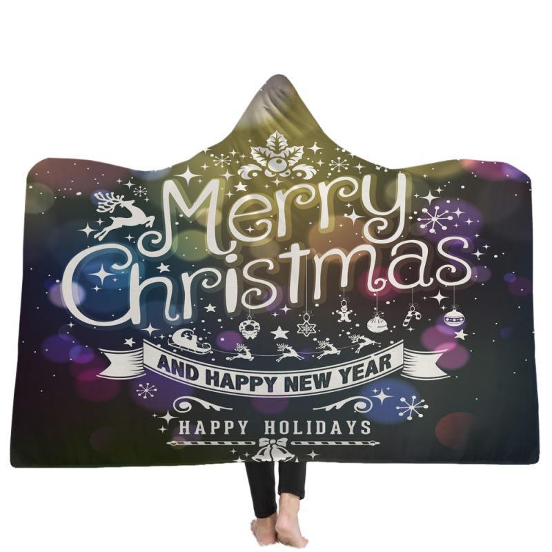 Merry Christmas Kapşonlu Battaniye Polar Giyilebilir Battaniye Atmak Çocuklar yetişkinler Noel Hediyesi Sıcak Pelerin Pelerinler Ev Tekstili GGA2589