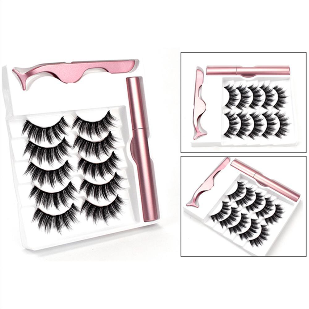 Mode 5 Paires Magnétique Cils Magnétique Eyeliner Set Mise À Jour 5 Aimant Faux Cils Naturel Maquillage Cils Extension