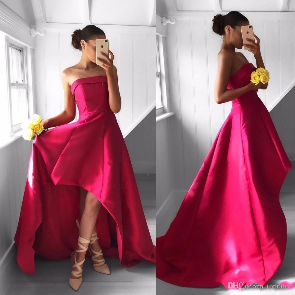 2019 핫 핑크 높은 낮은 국가 신부 들러리 드레스 Strapless Neckline 웨딩 게스트 드레스 새틴 싸구려 명예 가운