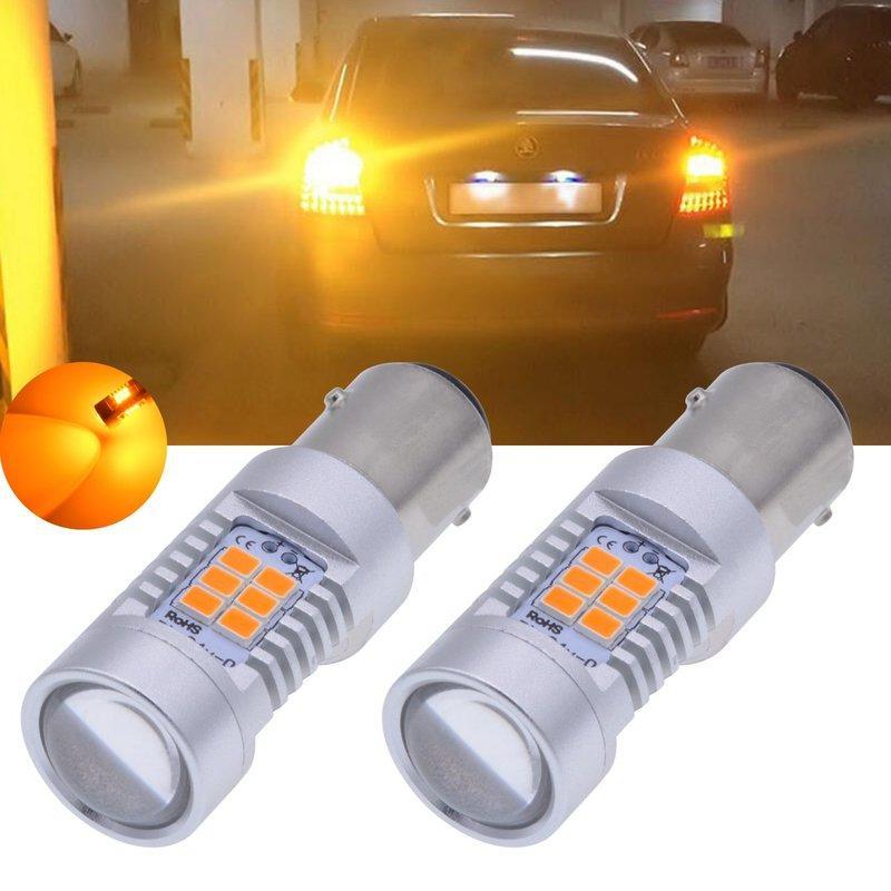 1156 LED Ampul Dönüş Sinyal Işık Amber Sarı BAY15d, 1016, 1034, Parlak 2835 Yonga seti 21 SMD LED (2-Pack)