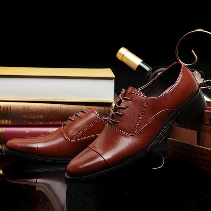 Zapatos de vestir hombres moda casual negocio cuero de cordón cómodo zapato de boda traje masculino