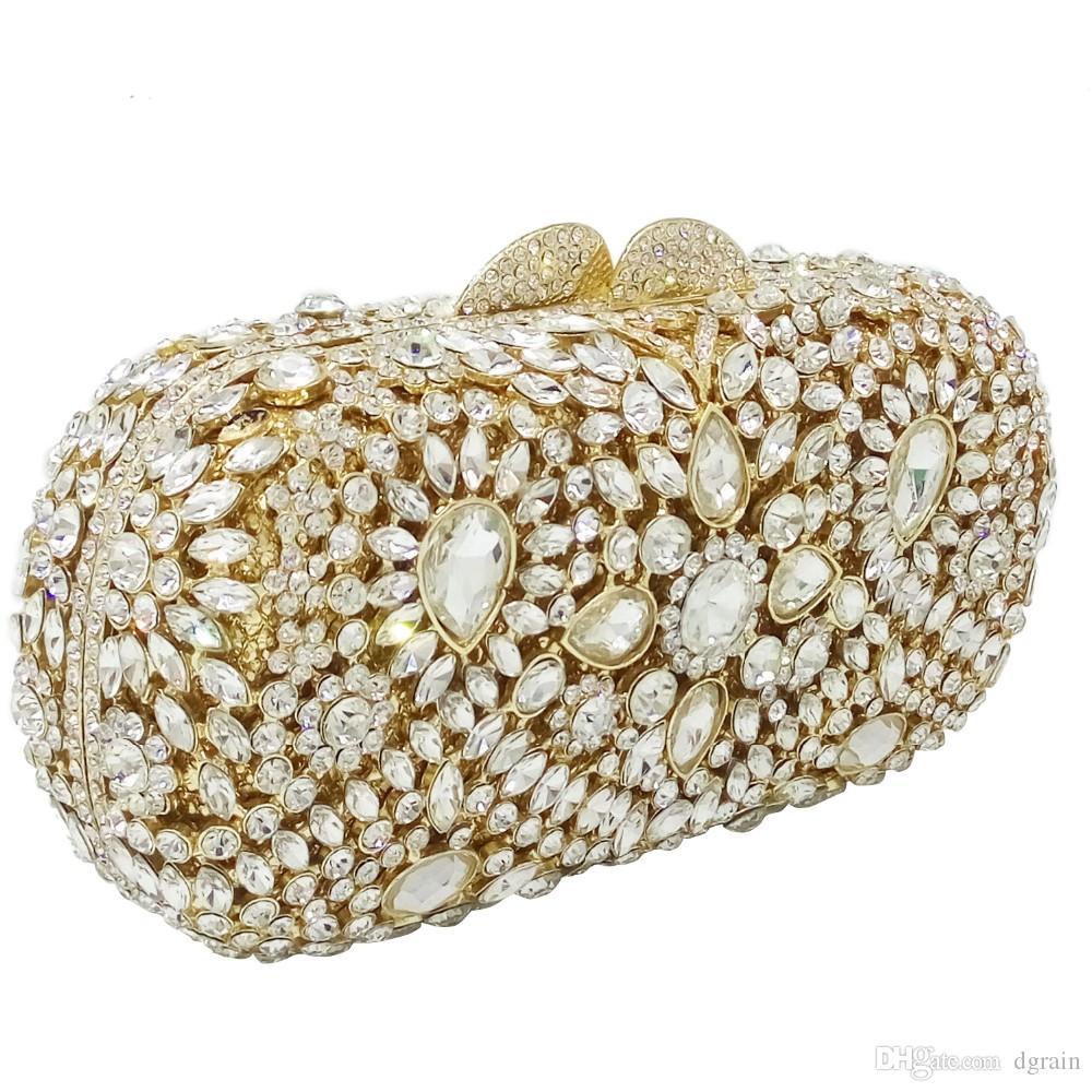 Women/'s NEW CLUTCH Bags donna con cristallo Ballo Sera Festa Matrimonio Borsetta Handbag