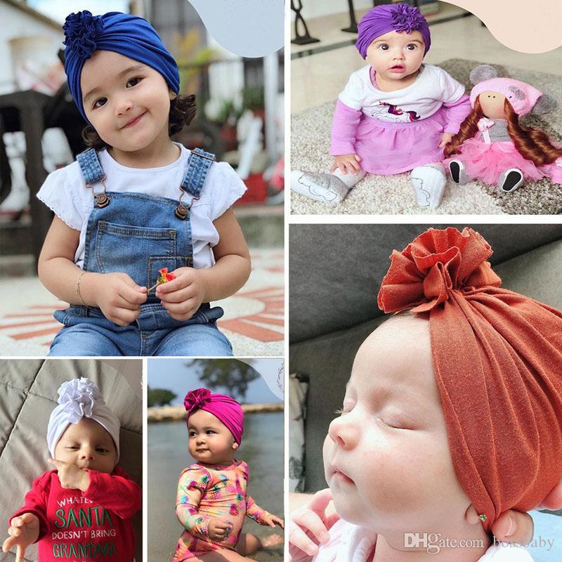 Newborn Baby Winter Hats 16 Design Solid Ruffle Flower Cap Baby Kids Caps Infant Girls Caps Boys Cotton Turban Hat 07