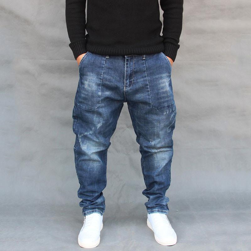 Jeans para hombres 2019 pies cónicos nuevos coreana de los pantalones vaqueros de los hombres pantalones de harén de gran tamaño Street Dance pantalones de Hip Hop Más tamaños 29-40