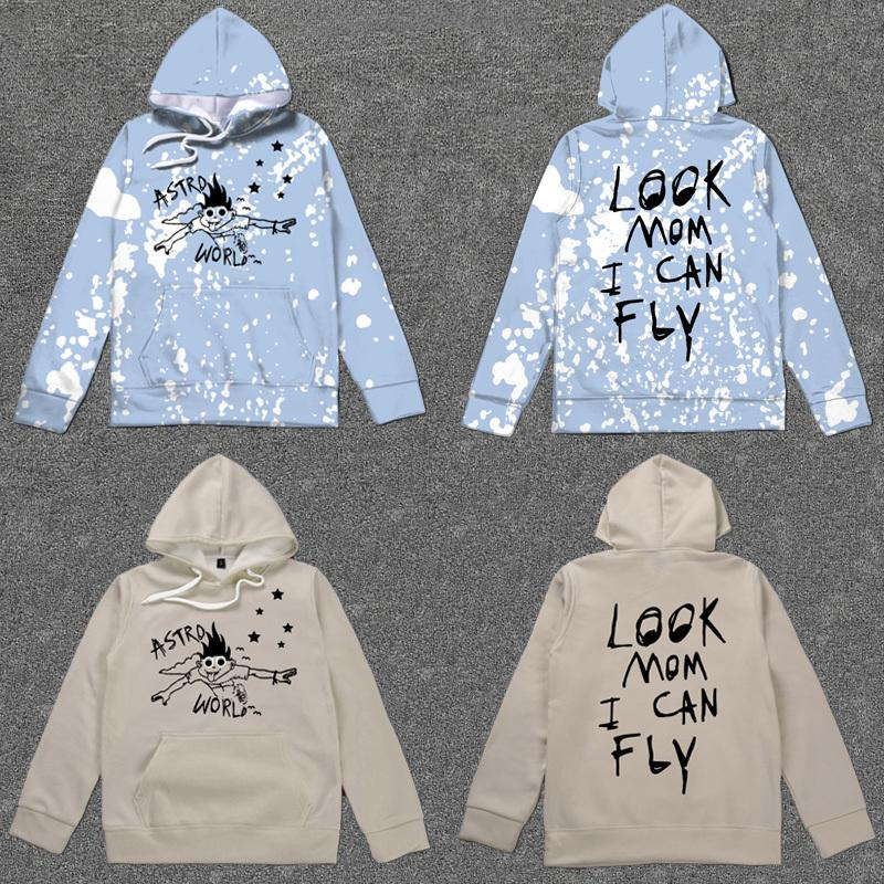 Travis Scott Astroworld Fest Graffiti Posto de Merch Hoodies Olhe a mamã I Can Fly Digital impresso Sueter Sudaderas T200407