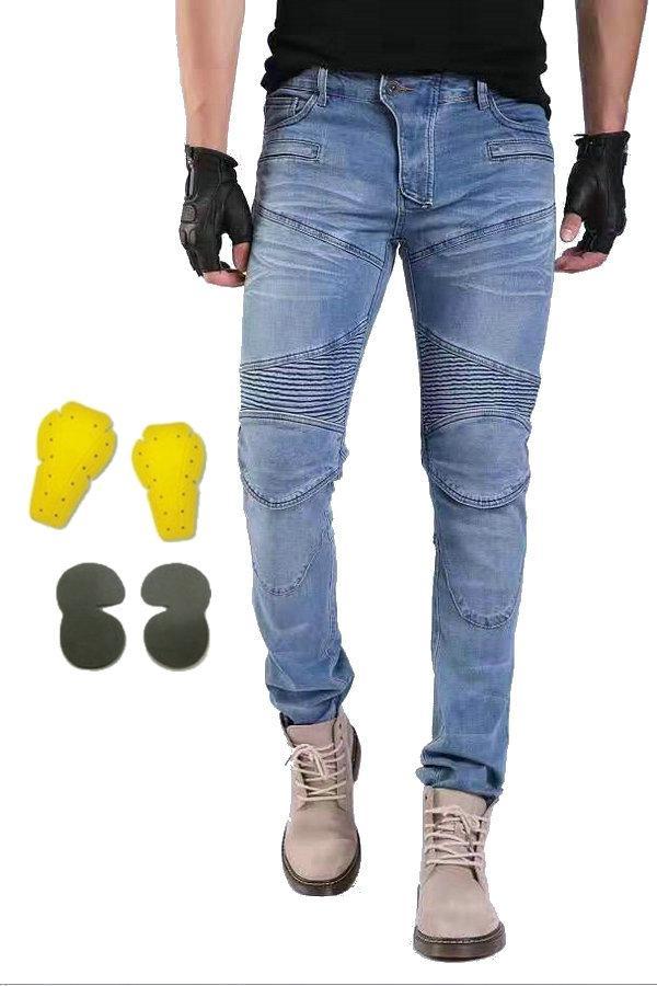 Volero delgada conductores de motocicletas motorbiker los pantalones vaqueros del verano de protección casuales Moto ocio deportivo ciclismo pantalones PK-718 azul