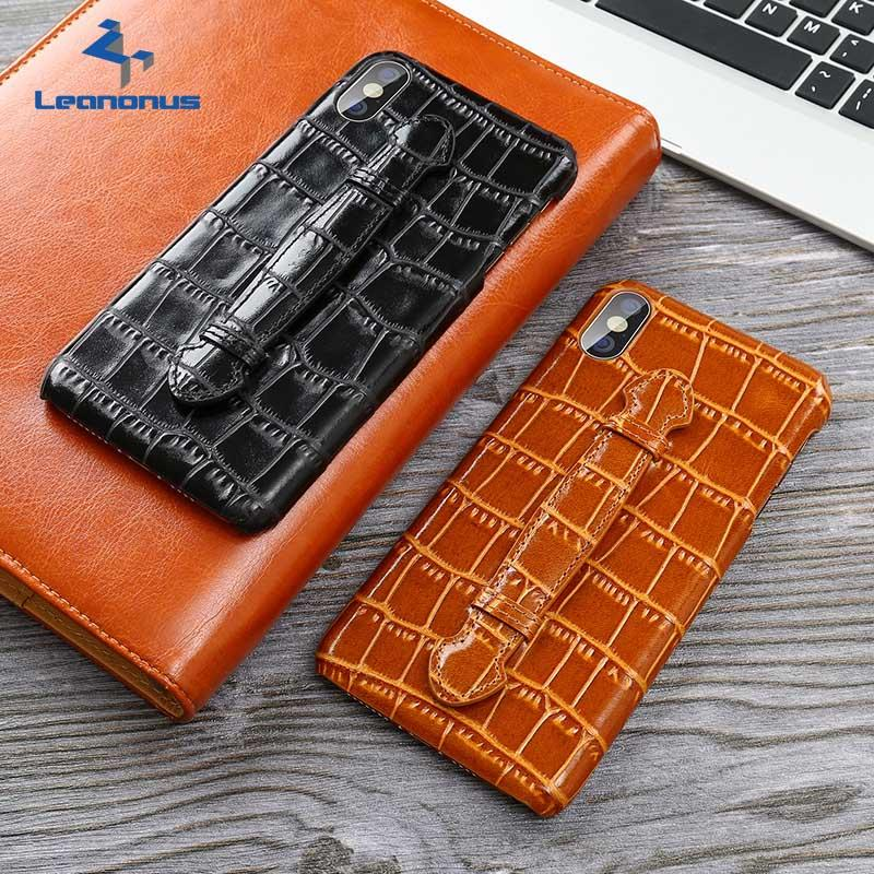 Genuine Leather Wristband Case For iPhone 7 8 Plus Case High-end Business Real Cowhide Holder Cover For iPhone X XS Max XR Shell