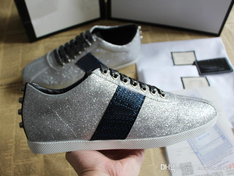 Top Qualität Glitter Neue Designer Schuhe Weiß ACE Gestickte Männer und Frauen Aus Echtem Leder Designer Sneaker silber bee Freizeitschuhe