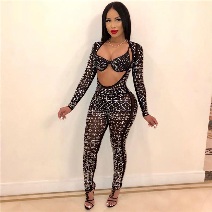 Long Sleeve Black Lace Rompers Backless Party Club Female Clothing Rhinestone Reversible Womens Jumpsuits Sexy Skinny