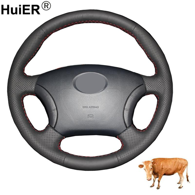 Hand Sewing Car Steering Wheel Cover Volant Top Cow Leather For Great Wall Haval Hover H3 H5 Wingle 3 Wingle 5 Car Accessories
