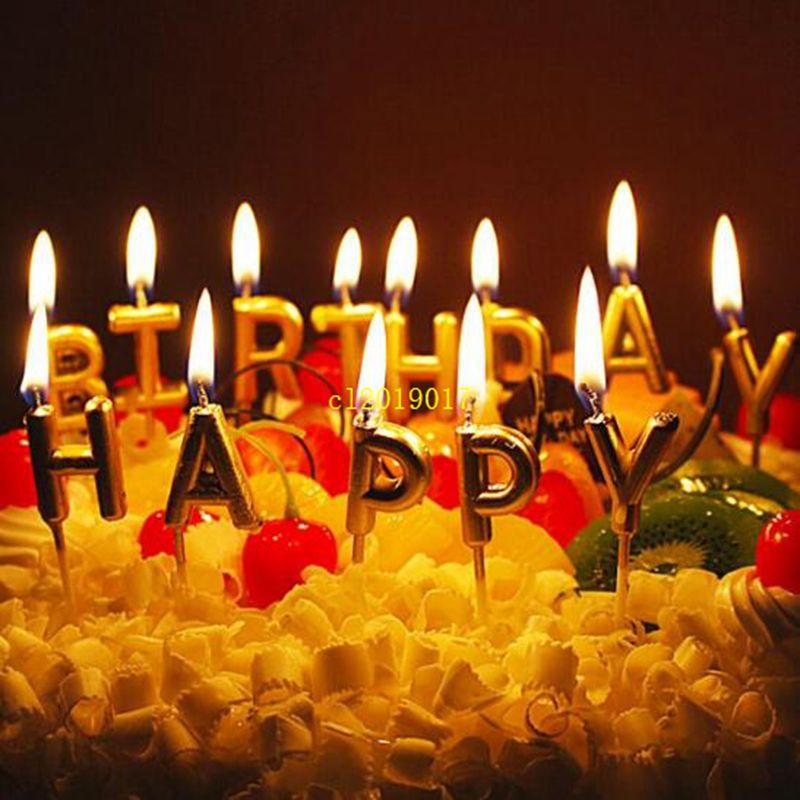 Astilla dorada Feliz cumpleaños Carta Pastel Fiesta de cumpleaños Suministros para el festival Velas de cumpleaños encantadoras para regalo de hornear en la cocina