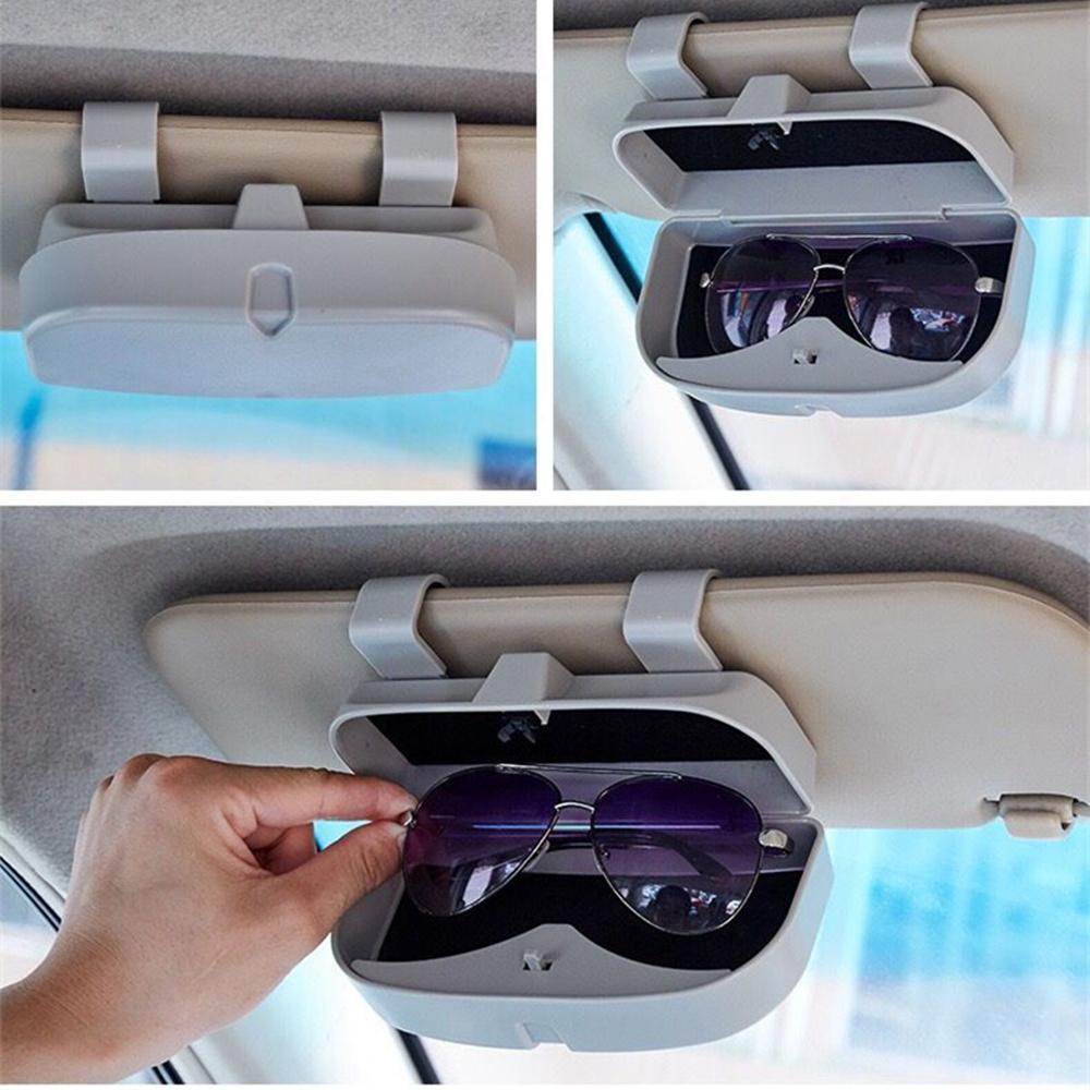 Universal Grey ABS Plastic Vehicles Sun Visor Sunglasses Holder Storage Box Case