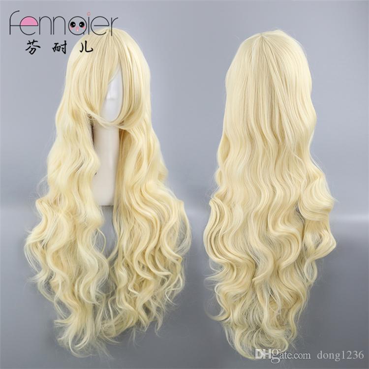Projeto Yangyan-Sakura jasmim pálido ouro bege oblíqua franja peruca de cabelo longo encaracolado cos
