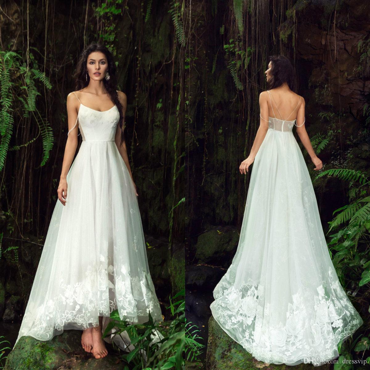 2019 세련 된 Boehmian 웨딩 드레스 높은 낮은 스파게티 스트랩 Appliques 골치 아픈 건 해변 웨딩 드레스 민소매 맞춤 제작 신부 가운