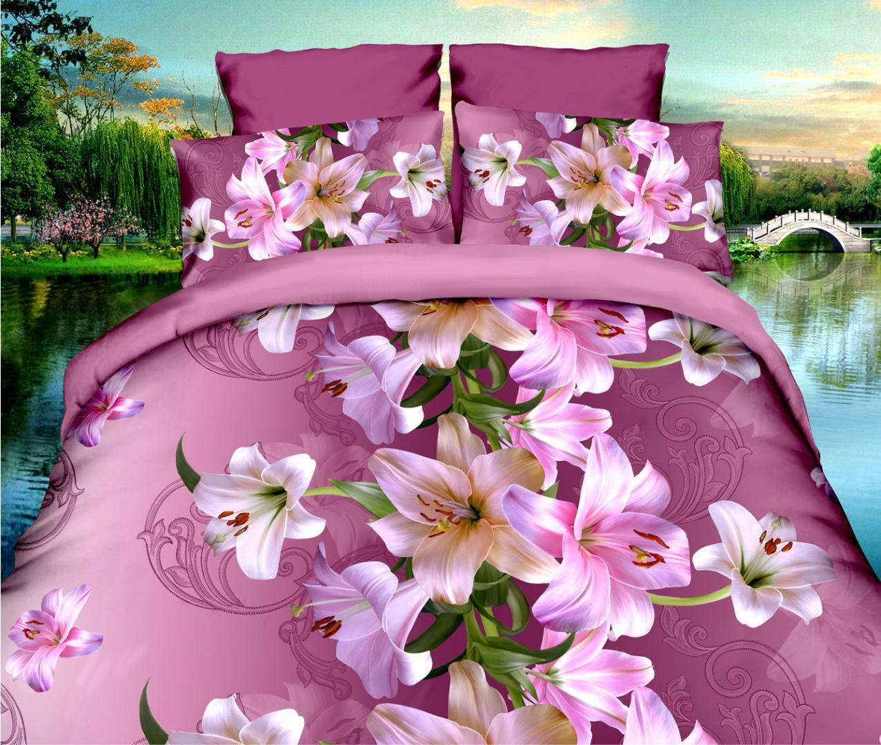 Bedding Set 3D Red Rose Lavender Lily Peony pastoral style 4pcs family children's room Duvet Cover Sets Bed Sheet Set Pillowcase