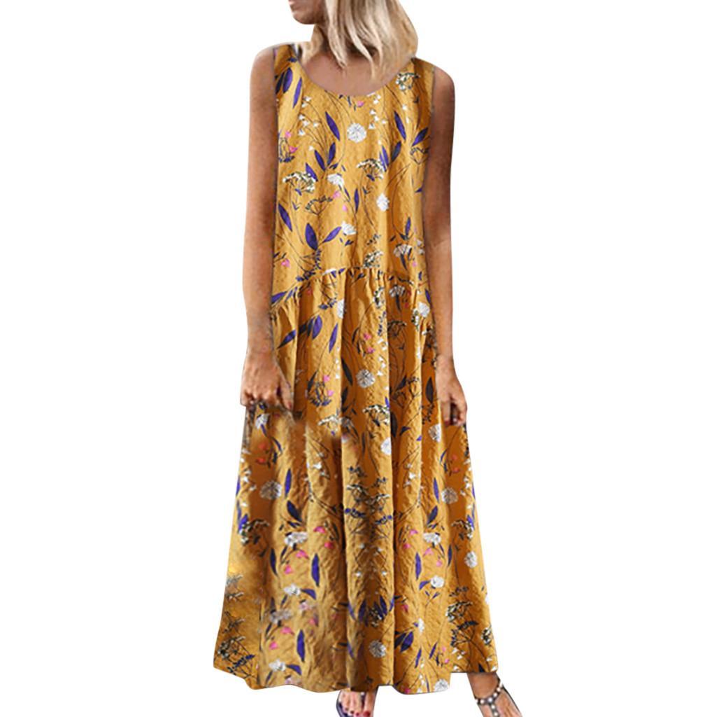 Лето Женщины Плюс Размер Bohemian 2019 O-образным вырезом цветочным принтом марочные рукавов длинные платья макси женские платья Повседневный 5,2
