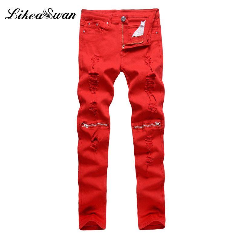 Likeaswan Mens Buraco Jeans Moda Joelho Elastic Fino Zipper Calças Jeans Homens Spring Autumn Red Superior Furo rasgado