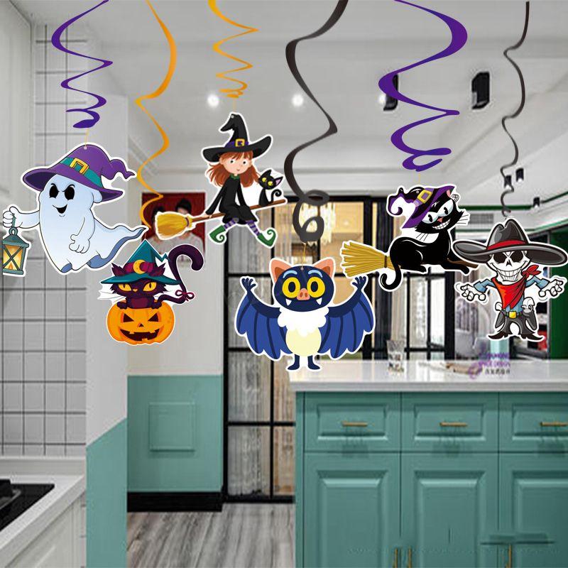 6 adet / takım Karikatür Cadılar Bayramı Süslemeleri Kolye PVC Spiral Kolye Parti Perili Ev Asılı Çelenk Kolye Kabaklar LJJA3003