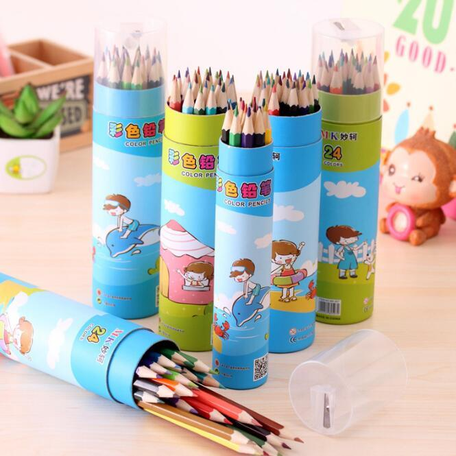 Barrel Packaging With Sharpener Colored HB Pencils Children's Drawing Wood Long Style Pencil Writing Supplies Office & School HA505