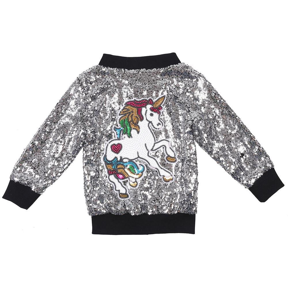 Muchachas del niño del unicornio lentejuelas chaqueta de bombardero de plata de la chispa del arco iris de los niños de la cremallera Outwear los bebés del brillo Escudo de Navidad Año Nuevo
