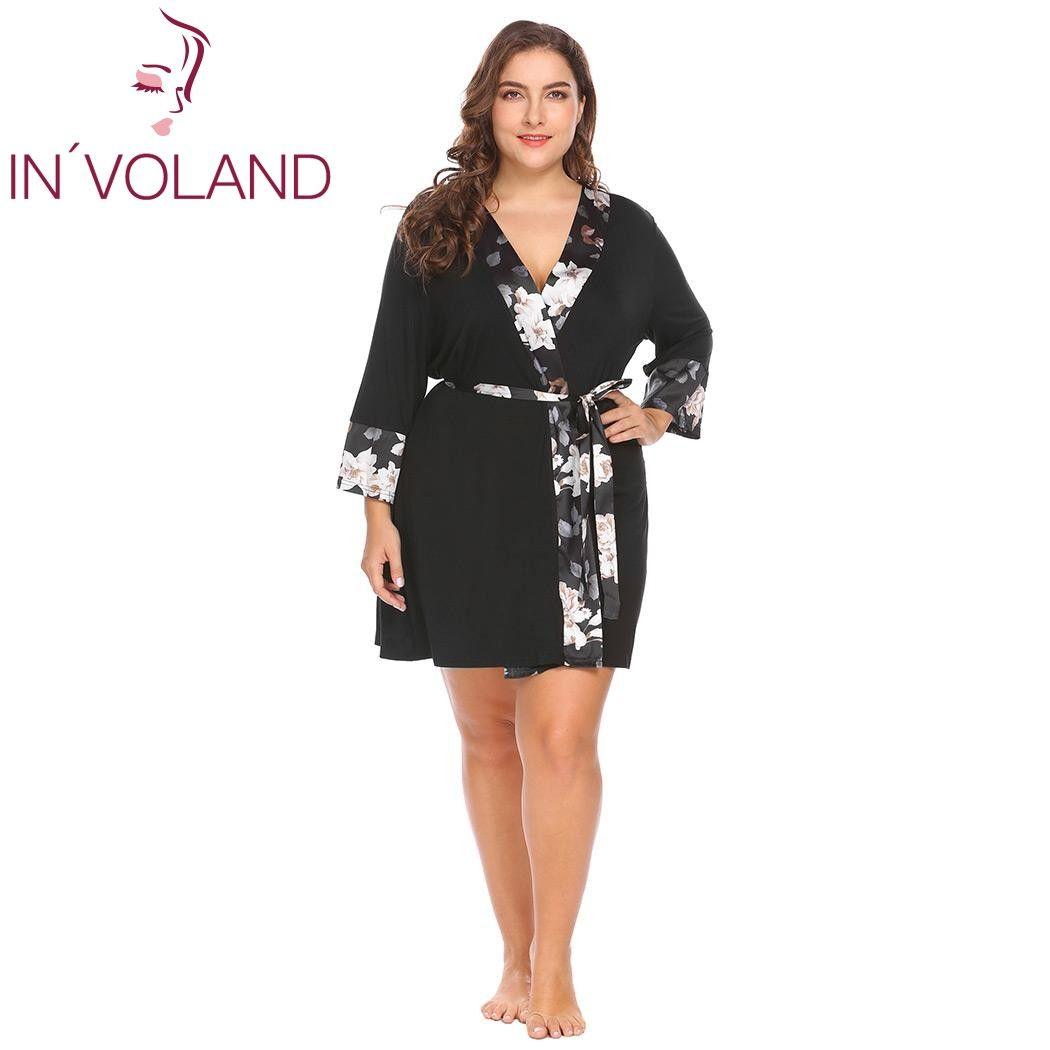 2019 IN\'VOLAND Women Sleepwear Robe Soft Kimono Dress Plus Size Pajama  Nightgown Floral Satin Patchwork Large Spa Bathrobe Big Size From Edmund02,  ...