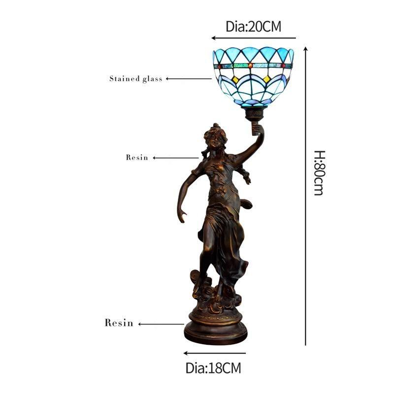 Amerikan Tiffany masa lambası bakır heykel portre sanat dekorasyon lamba vitray masa lambası restoran bar lambaları