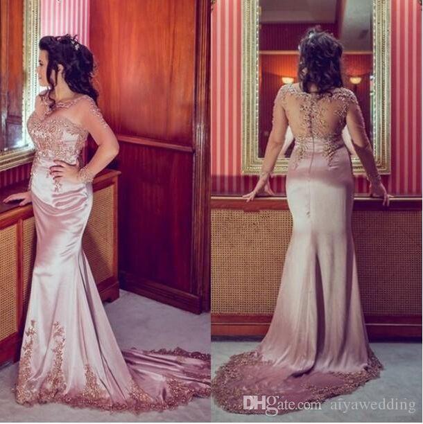 Nouvelle Robe De Festa Manches Longues Sheer Back Rose Robes De Bal De Sirène Illusion Cou Appliqué Dubai Kaftan Formelle Robes De Fête Arabe