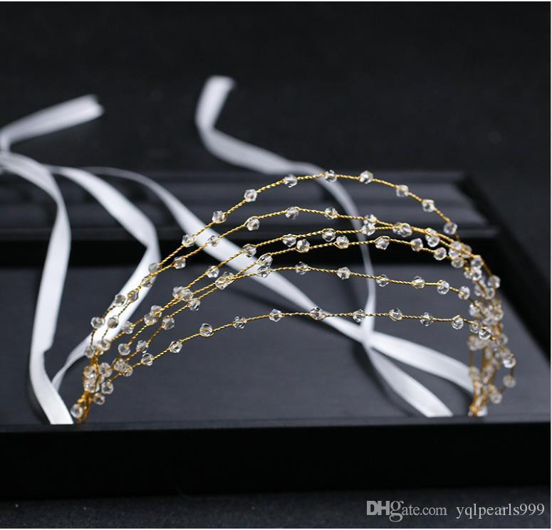 Bijoux de mariage faits à la main Accessoires cheveux en cristal Bracelet bandeau or multi-couches couvre-chefs de bijoux de mariée